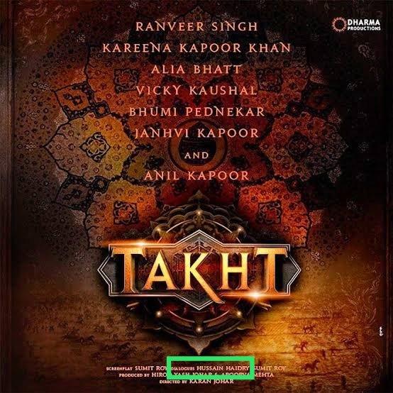 so this #HussainHaidry is the writer of #KaranJohar's upcoming movie #Takht#BoycottTakht