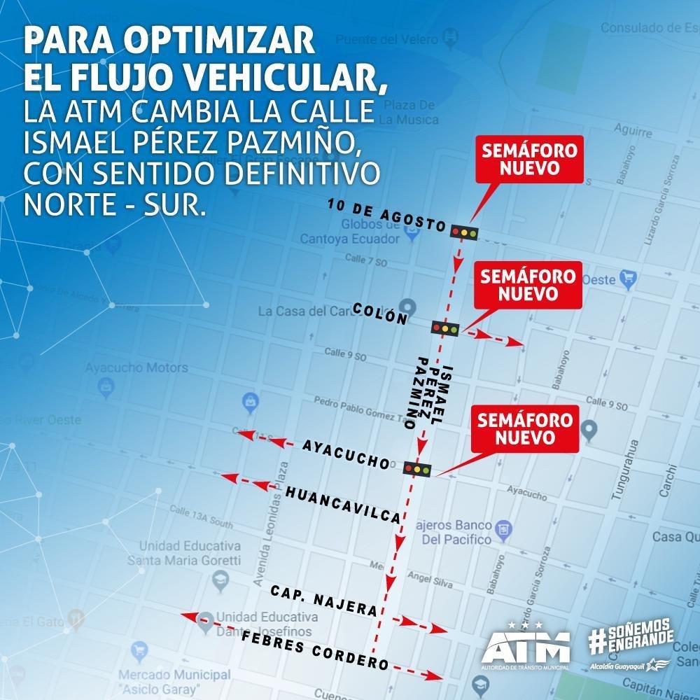 #ATMinforma   A partir de las 10:00, se realizará el cambio del sentido vial, en la calle Ismael Pérez Pazmiño, desde Ayacucho hasta Febres Cordero, con sentido definitivo hacia el sur.  Por favor, conduzca con cuidado.