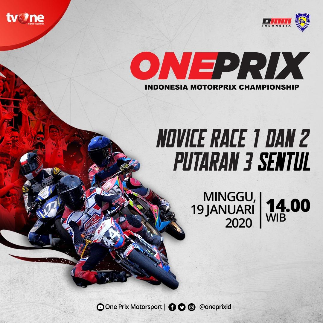 Jangan lewatkan best race: Novice Race 1 & 2 putaran 3 Sentul, Bogor dalam Oneprix Indonesia Motorprix Championship Minggu 19 Januari 2020 jam 14.00 WIB hanya di tvOne & streaming tvOne Connect, android http://bit.ly/2EMxVdm & ios http://apple.co/2CPK6U3. #Oneprix