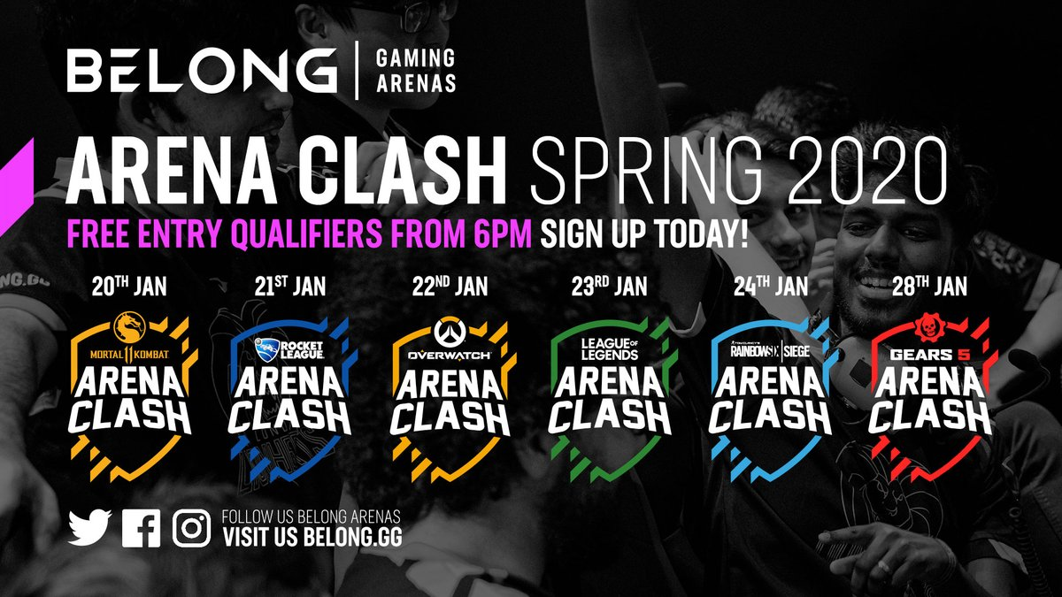 Only 2 days until #ArenaClashSP20!! #MK11 - Mon 20th #RocketLeague - Tues 21st #Overwatch - Wed 22nd #LeagueOfLegends -Thurs 23rd #RainbowSixSiege - Fri 24th #Gears5 - Tues 28th  All qualifiers run 6pm-9pm and are TOTALLY FREE!   Sign up now at: https://belong.gg/arena-clash/arena-clash-spring-sign-up/…pic.twitter.com/8jtJWgEb2e