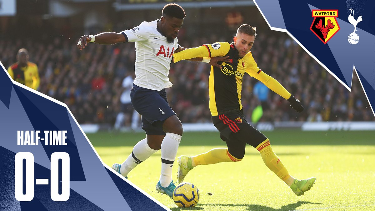 HALF-TIME: All square at the break at Vicarage Road. 🟡#WatfordFC 0-0 #THFC ⚪️