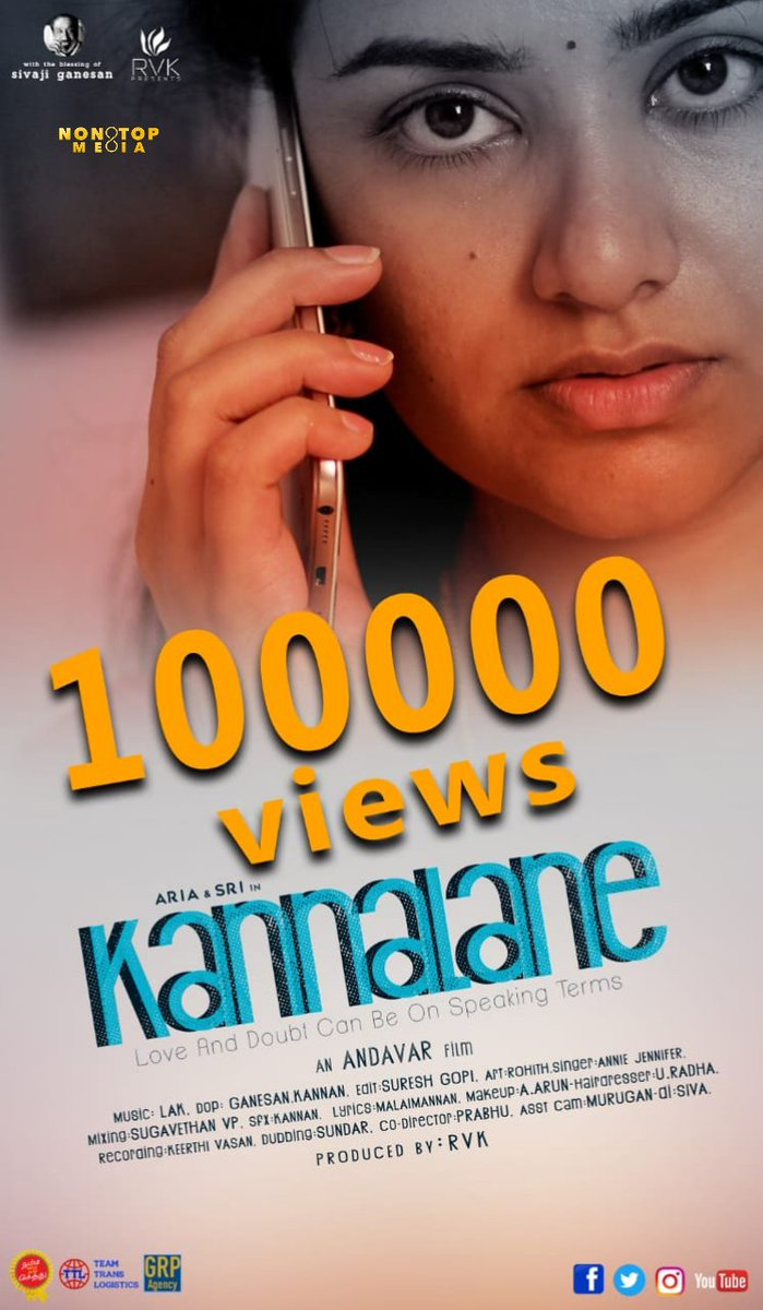 Fantabulous 100K Views #Kannalane Shortfilm Released by #96movie Producer #Nandhagopalan the film directed by #Aandavar (Asst Director of #Nedunalvadai) Music: @lakmusical  DOP: #Ganesan & #Kannan  Editor: #SureshGopi #Hindi Version from 10th Feb 2020 https://youtu.be/nHSybkFvXx0pic.twitter.com/8ENJVRyPQu