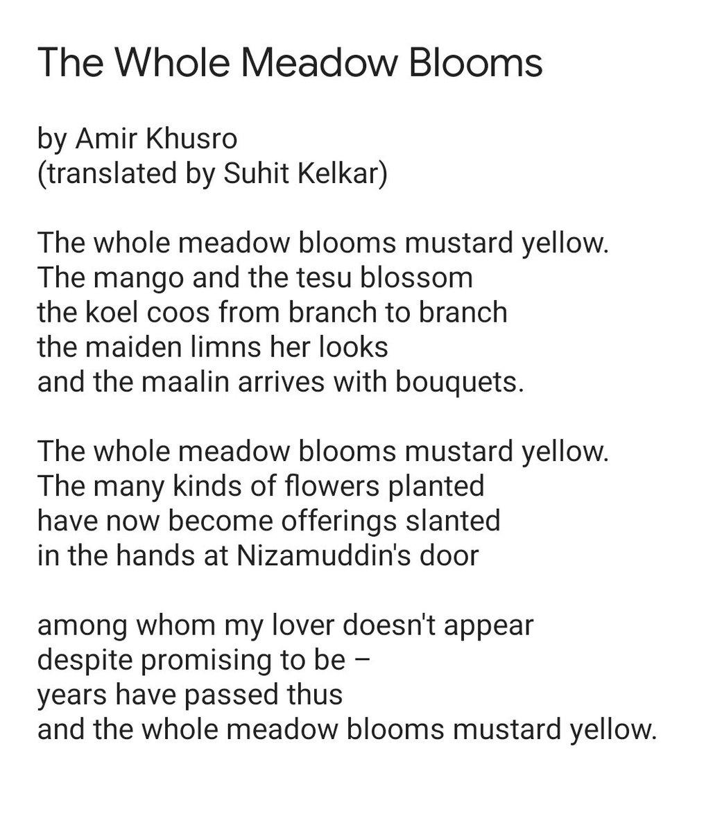 "Suhit Kelkar on Twitter: ""I've translated, into English, Aamir Khusro's  'Sakal Ban Phool Rahi Sarson'. Do take a look at the translation below!  #poetry #india #amir_khusro #translation lation… https://t.co/DI8OZdKFz7"""