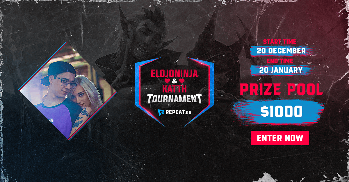It's the last few hours to enter the @ElOjoNinja and @KatthTV tournament, and we opened some more spot! #esports  🕹Game - @LeagueOfLegends 💰Prize pool - $1,000 🎫Entry - FREE 🔗Link - https://bit.ly/2FYyNt5  You enter, we track your gameplay and give you a score. That's it!