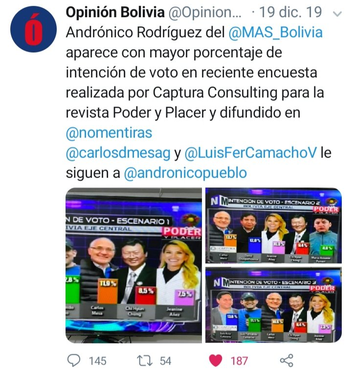 @evoespueblo @Adriana1989sa @evaliz18 @GarciaLinera en varias encuestas @andronicopueblo siempre aparece primero y con mayor porcentaje y Arce también. Por favor tengan en cuenta ese binomio @andronicopueblo y Luis Arce pic.twitter.com/FQsS1sQMOy