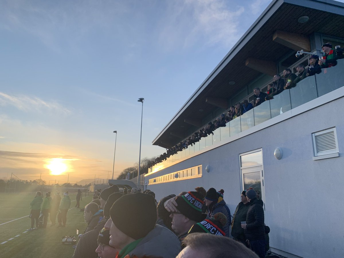 """Second day in a row down at """"the nest"""". @HighlandRFC vs Watsonians. Highland 28-7 up coming in to halftime."""