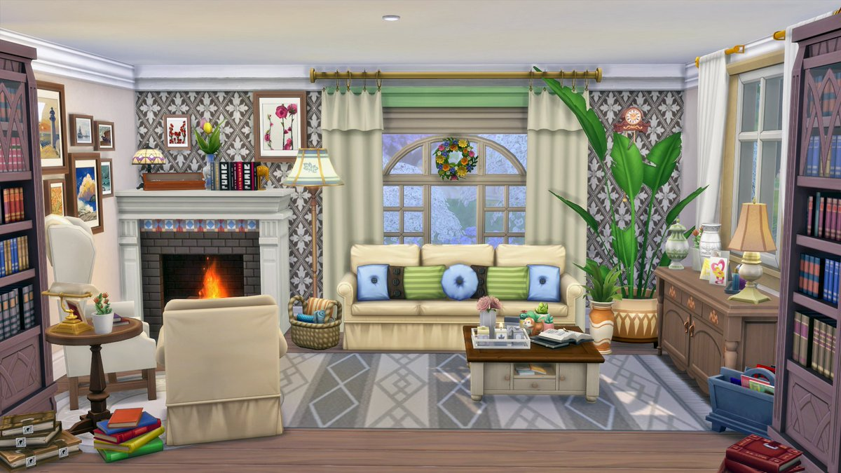 """#roominspiration - A cosy living room in country house style with a fireplace. EA ID """"EisteeRitter"""" #TheSims4 #ShowUsYourBuilds @TheSimspic.twitter.com/CurmZ7c4w0"""