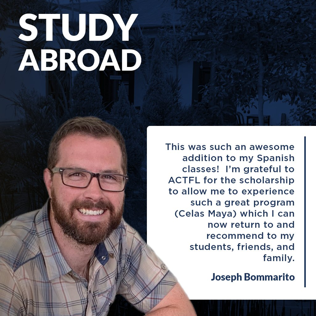 """What do last year's scholarship recipients have to say about their study abroad programs?  """"My two-week program at @celasmaya in Xela, Guatemala was fantastic."""" –Joseph Bommarito To apply, go to https://bit.ly/2jEBoPG. The deadline is 2/28.  #Spanish #Studyabroad #SpanishSchoolpic.twitter.com/A8zjgmz7L3"""