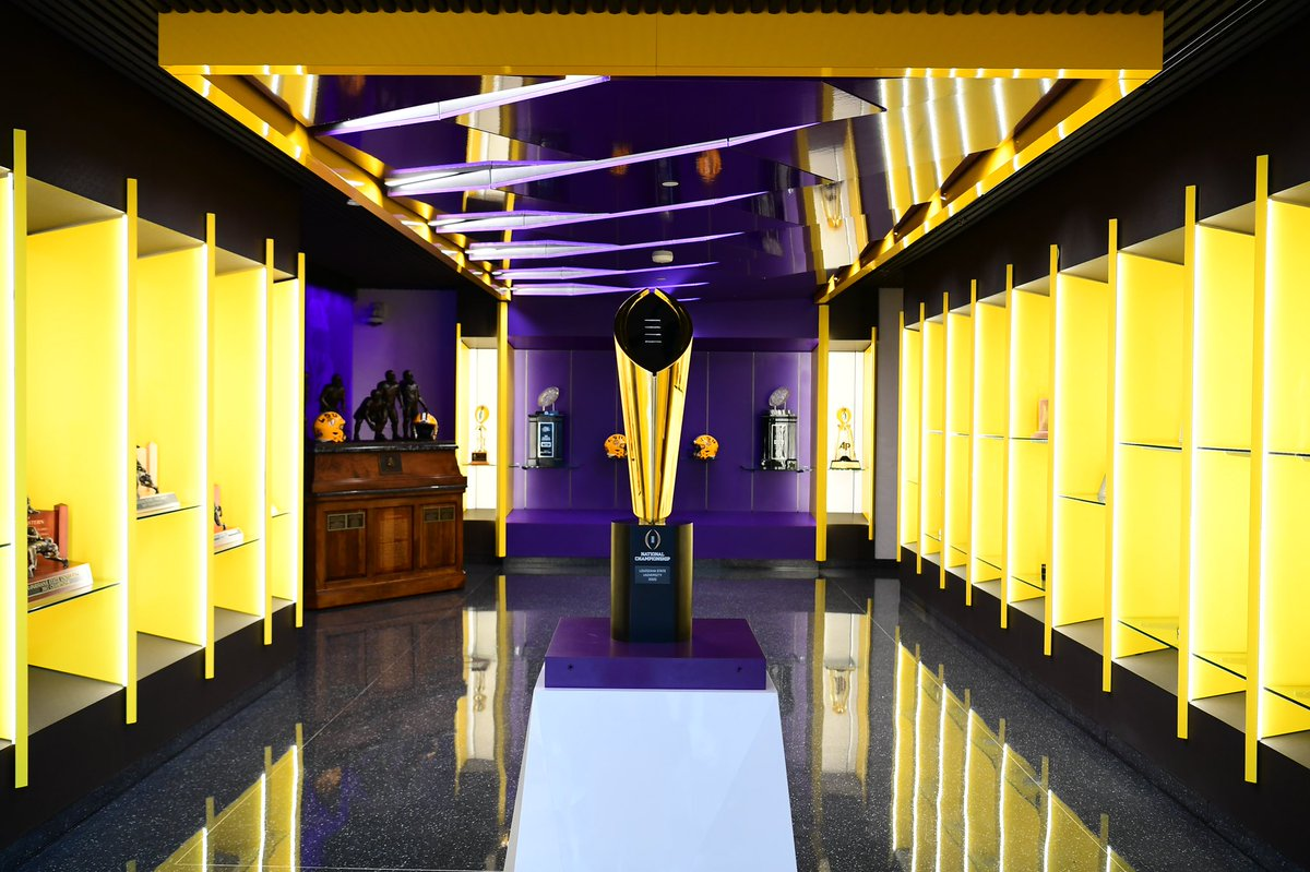 The National Championship Trophy has found its final home in Baton Rouge