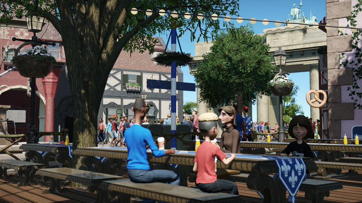 Little test run for my #Germany Pavilion..  #disneyland #disneyworld #europapark #themepark #design #architecture #Atmosphere #game #gaming #pc #RollercoasterTycoon #planetcoaster #planetzoo #frontier #deutschland #biergarten #BrandenburgerTor #epcot #SaturdayVibes #beer #snackpic.twitter.com/my8P9zXbQc