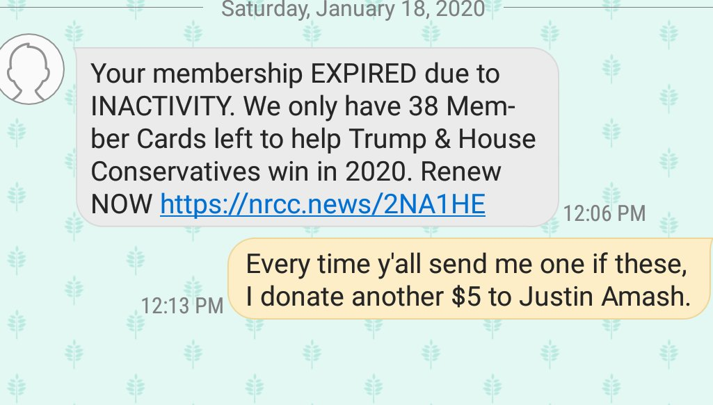 Another $5 will be going to @justinamash  Every time I get an unsolicited text from @GOP I'm donating $5 to Amash.  Join me! https://t.co/hYHjzVNCQ7