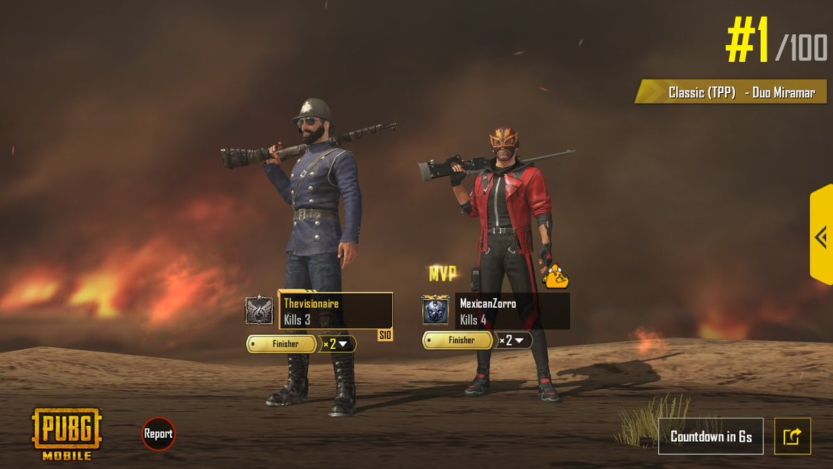 Victory with my best friend MexicanZorro we are a great team, Insane http://twitch.tv/thevisionaire1 Follow me if you dare!#PUBG_MOBILE #pubg #PUBGMOBILE  #PUBGclips #gamers #fun #Twitch #ThisIsBattleRoyale #gamergirl #PUBG履歴書 #PUBG募集 #PUBGモバイル #pubglatino pic.twitter.com/4B7ny9b6ny