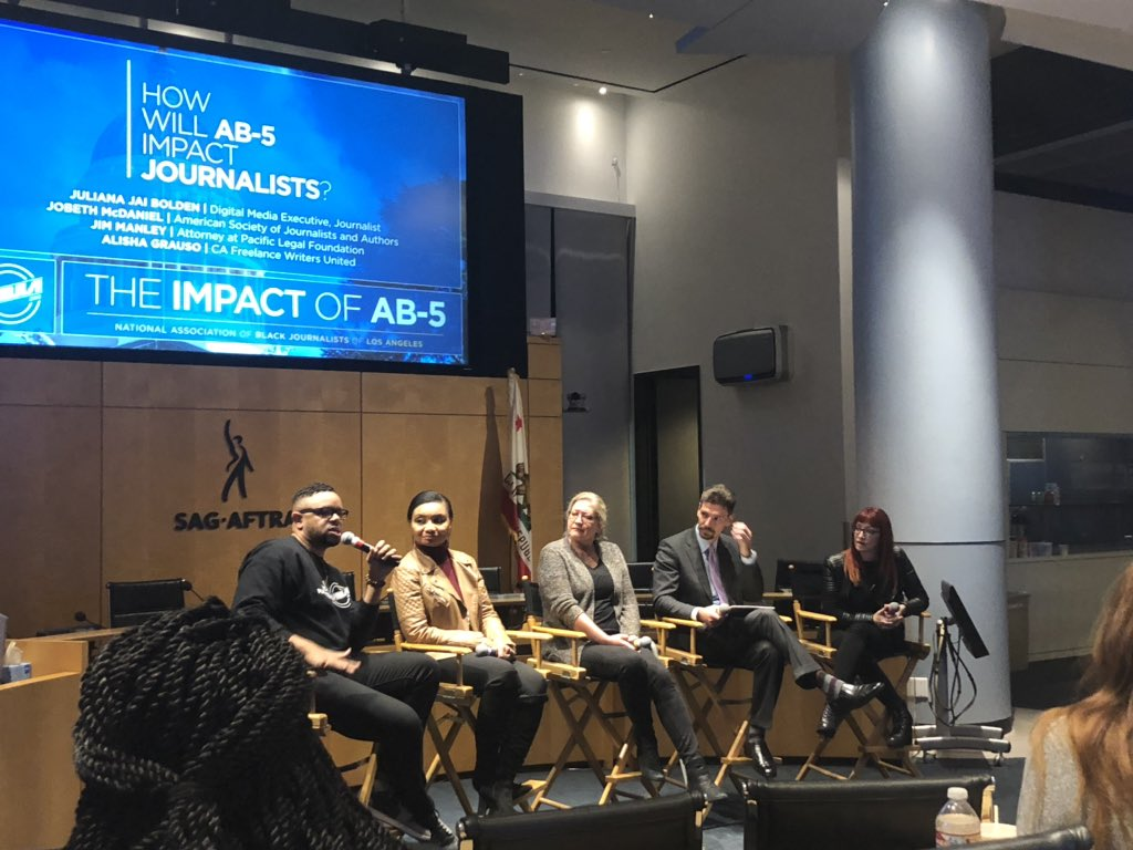 Great point made my @JarrettHill at today's #NABJLA conversation about the impact of AB-5: Some news outlets have most of their minority writers as freelancers, what happens to those voices who are often the only writers of color for predominantly white newsrooms? #AB5