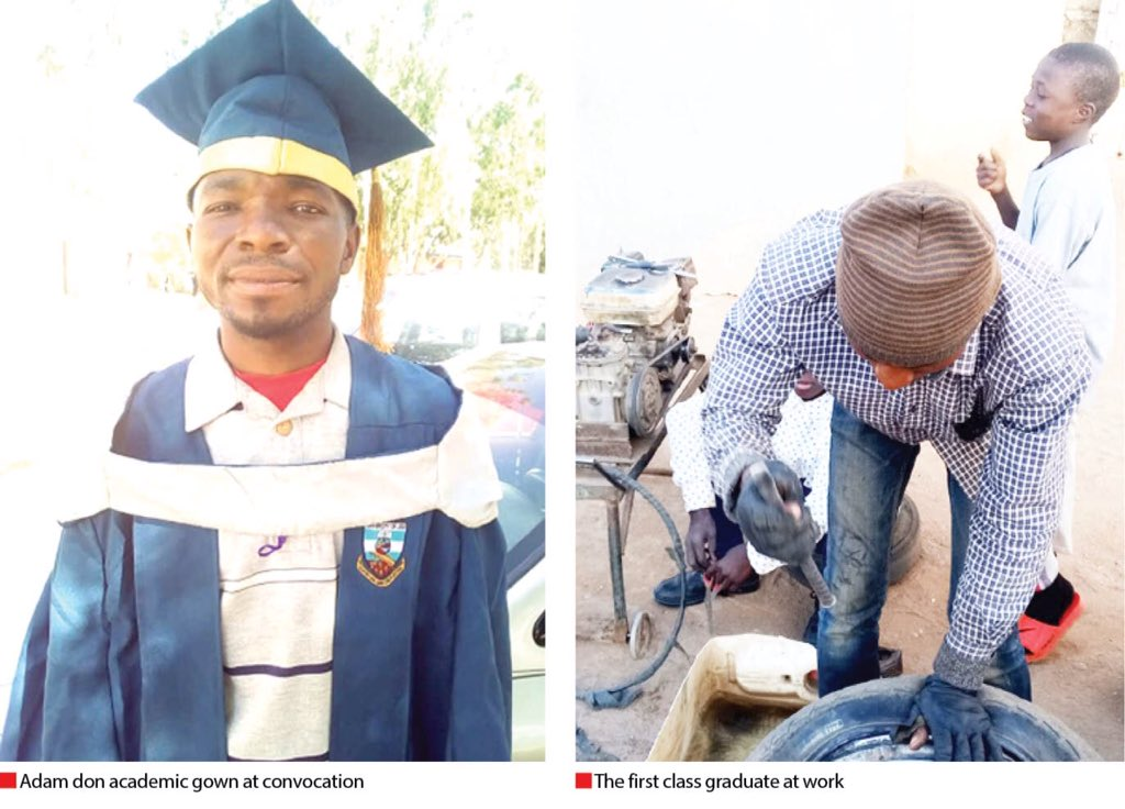 A vulcaniser in Plateau state who sponsored his secondary education and got admitted the University of Jos after that ,has graduated with a First Class in statistics at age 30. Isah Adam Husseini is an inspiration to us all never to quit on education.
