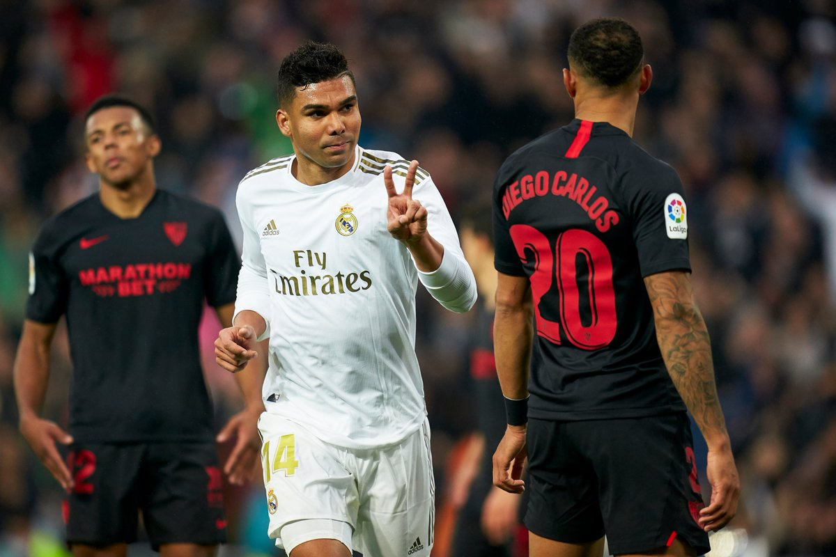 Casemiro scores twice in a game for Real Madrid for the first time as they beat Sevilla 2-1.  Key midfielder for Zidane's side is __________   #UCL