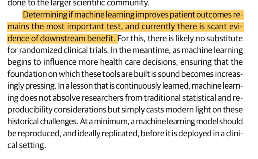 Challenges to the Reproducibility of Machine Learning Models in Health Care | Health Informatics | JAMA | JAMA Network