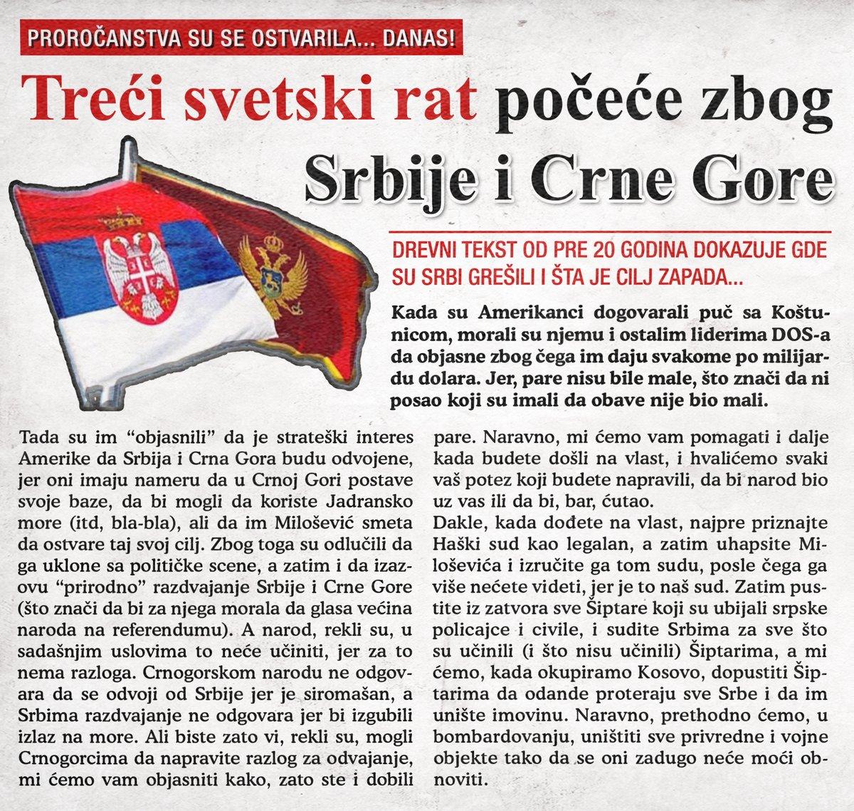 Treći svetski rat počeće zbog Srbije i Crne Gore