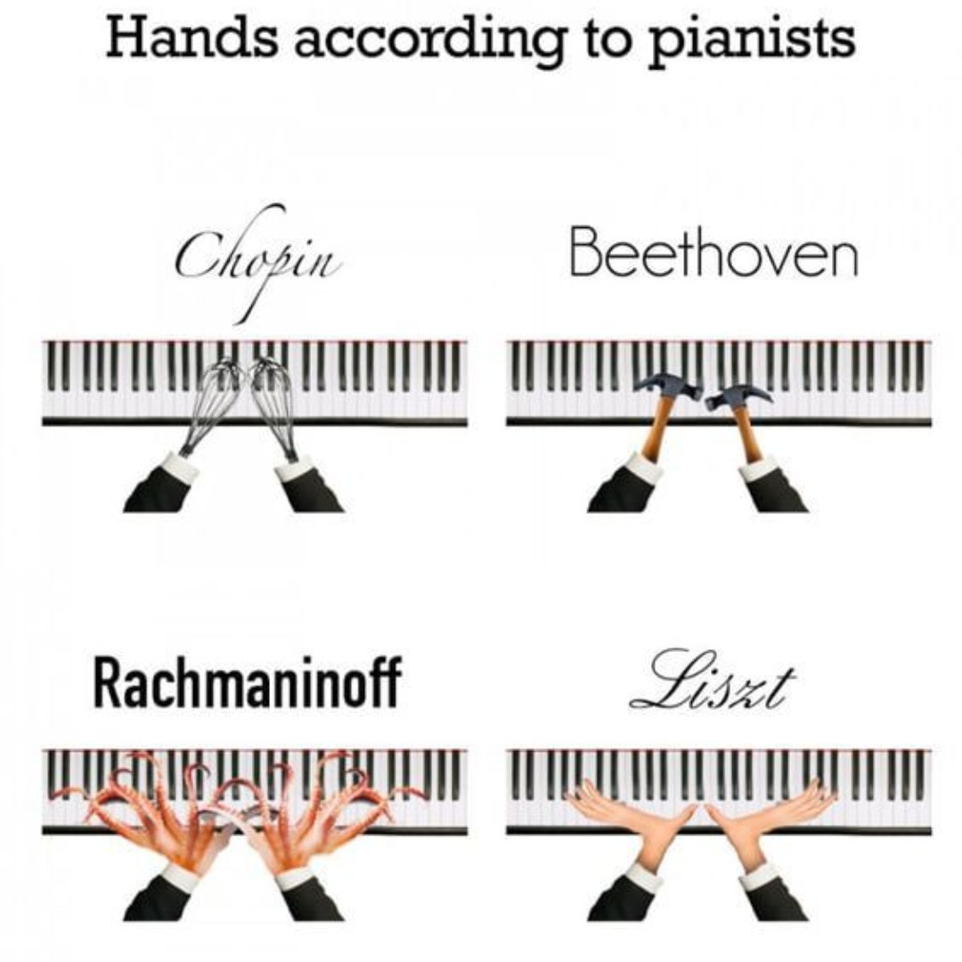 Accurate! #pianohands #chopin #beethoven #rachmanioff #liszt #cage #bach #debussy #boulez #piano #musiclessons #music #ismmusic #musicmemes #accuratepic.twitter.com/2UNdkBKdiW