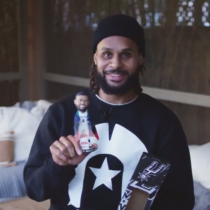 """""""It gives me goosebumps holding this up. This is my identity. This is who I am.""""  @Patty_Mills breaks down his bobblehead and why it means so much to him. The first 10K fans at tomorrow's Indigenous Night will receive one!  @HEB 
