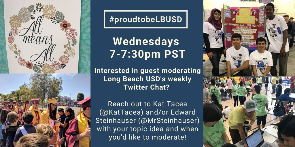 Interested in guest moderating our weekly chat?? Reach out to me or @KatTacea to sign up! #professionaldevelopment #proudtobelbusd #LeadLAP #leadupchat #tlap #teaching #caedchat #edtechchat #edutwitter #classroom