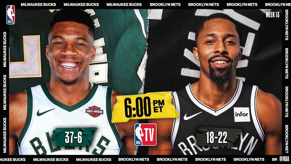 TONIGHT on NBA TV 📺  ▪️ Bucks on 5-game win streak ▪️ #1 in East vs. #8 in East ▪️ Giannis avg 30.1ppg/12.9rpg/5.5apg  6pm/et: @Bucks / @BrooklynNets