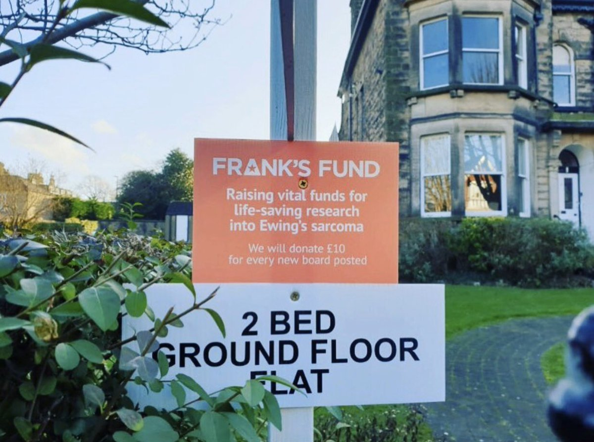 Look out for the special @myringsestate  #FrankFund boards across Harrogate. They're donating £10 every time they put up a board.  If your place of work would like to support Frank's Fund pls let us know. #FabulousFrank #harrogate #estateagents #BCRT #UntilTheresACure