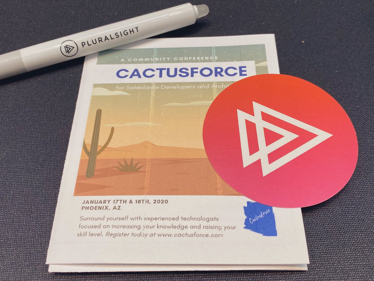 Good morning #Cactusforce2020!Can't wait to see what's in store today. Stop by the @pluralsight booth to get your stamp for the raffle, free swag and to see what's new with #Pluralsight and #Salesforce  #techskills #createthefuture #salesforcedev #salesforceadminpic.twitter.com/hQjCiNasMo