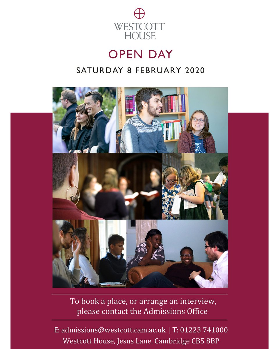 If you are exploring a vocation to the priesthood or another form of public ministry, you are invited to join us for an Open Day. Our next Open Day will be Saturday 8 February 2020, this is an opportunity to discover whether Westcott is the right place for you. #cofe #ordinand pic.twitter.com/zO20yVxC34