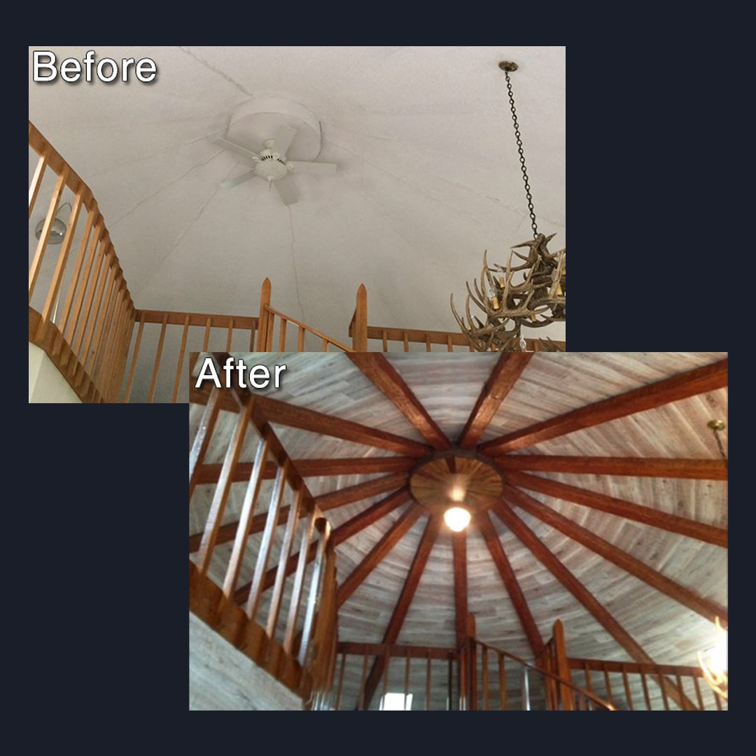 Our faux wood beams bring dynamic style to this ceiling: #homedesign #homedecor #interiordesign #homeremodel #getinspired #beforeandafter pic.twitter.com/0yy4kyv5fy
