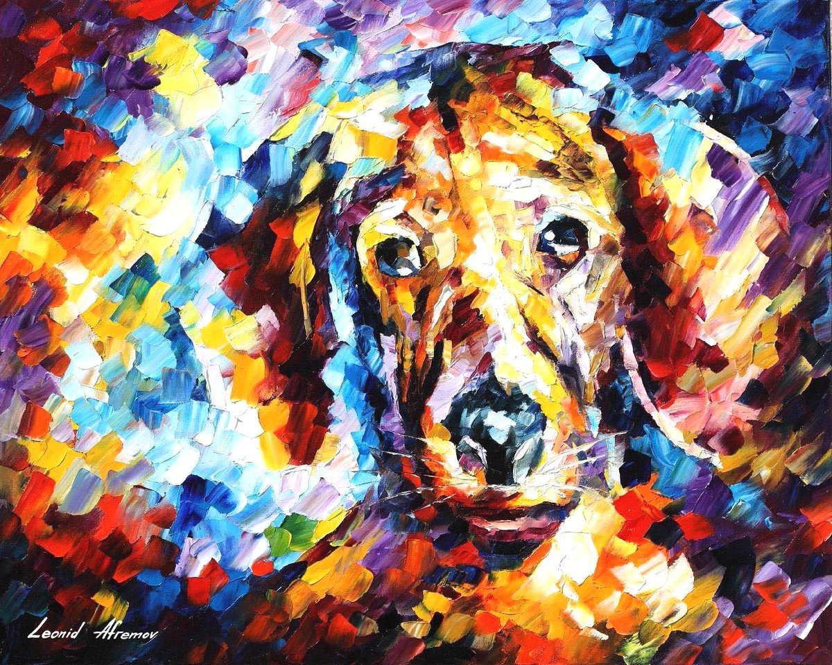 LOVELY DOG — PALETTE KNIFE Oil Painting On Canvas By Leonid Afremov https://afremov.com/lovely-dog.html  Please click on the link to see this painting on the site #contemporarypainting #instaabstract #canvasart #colorful_interiorpic.twitter.com/oORAUbnrBG