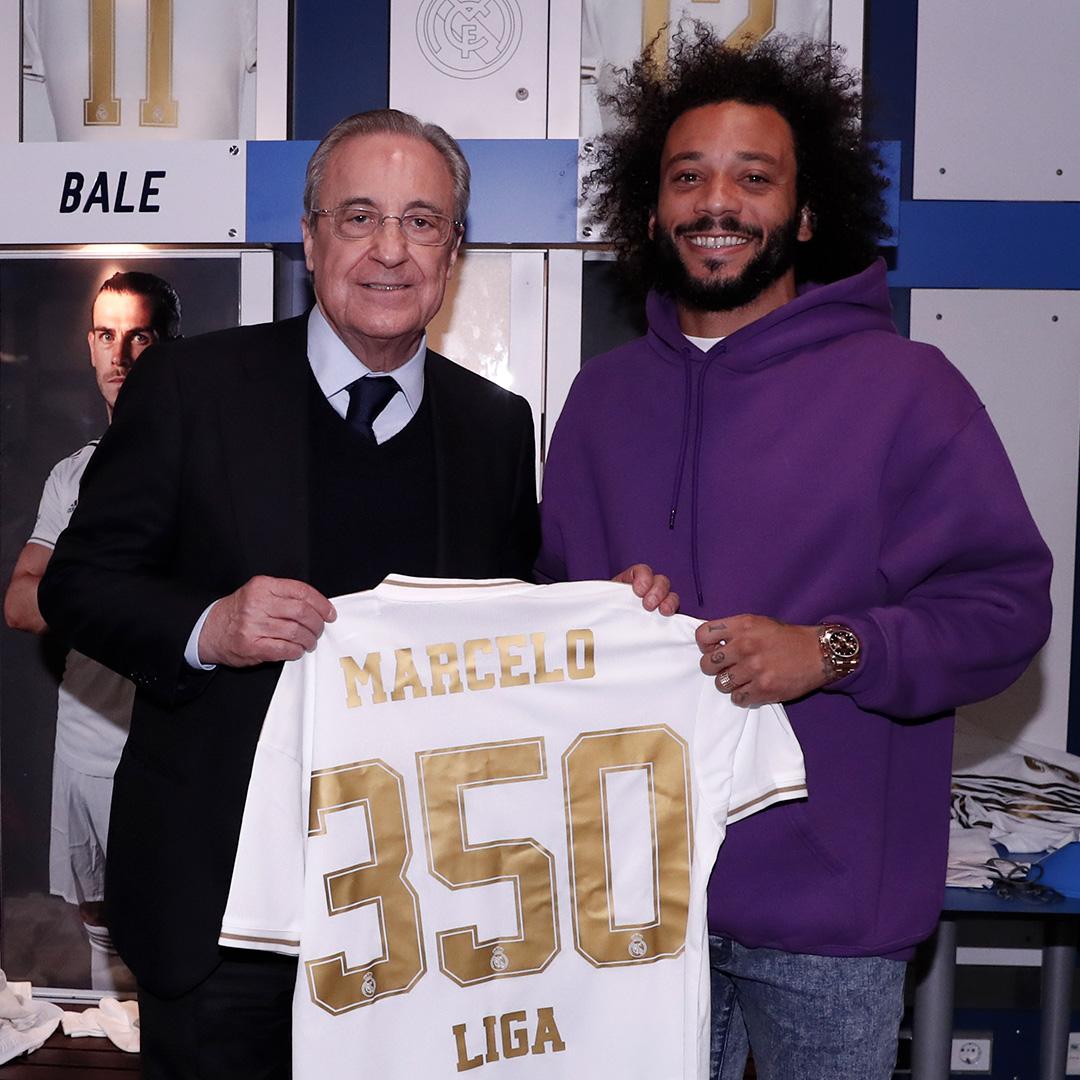 ✨⚽ ¡Tarde de récords!  🇧🇷 @MarceloM12: ¡350 partidos con el @realmadrid en LaLiga! 🇫🇷 @raphaelvarane: ¡300 partidos con la camiseta blanca! #RealMadrid | #HalaMadrid https://t.co/Qw69VUbCHT