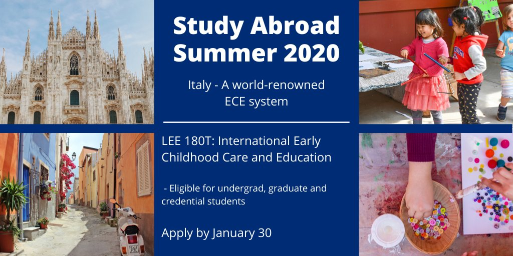 Join us for this once in a lifetime #studyabroad opportunity!   This course is designed to introduce the history, system, key principles and practices of an innovative, world-renowned early childhood program in Reggio Emilia, Italy.   Apply by January 30: https://studyabroad.fresnostate.edu/index.cfm?FuseAction=Programs.ProgramDiscovery&search=Reggio+Emilia…pic.twitter.com/4AjDGB2161