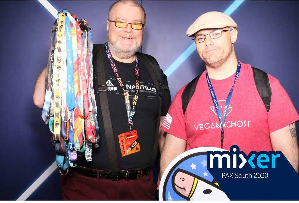 @WatchMixer VeganxGhost and Spiffman love my Mixer!  Thanks for giving me a platform to have an amazing community! #MixerPAXSweepstakes  #DustyRebellion #BooBrigade #Mixer #mixerstreamer #thankyou