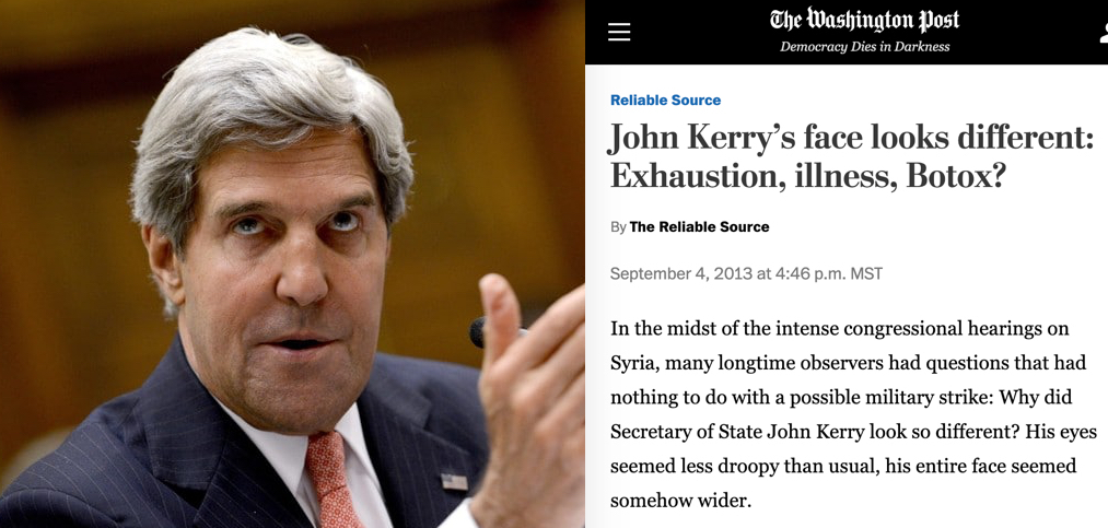 1. [John Kerry]  Could some of the changing looks we've seen from Deep State players over the years be signs of cloning?  Consider: Sleepy Joe, Crazy Nancy, Crooked Hillary.   🧐John Kerry's face changed in 2004, and again in 2013.