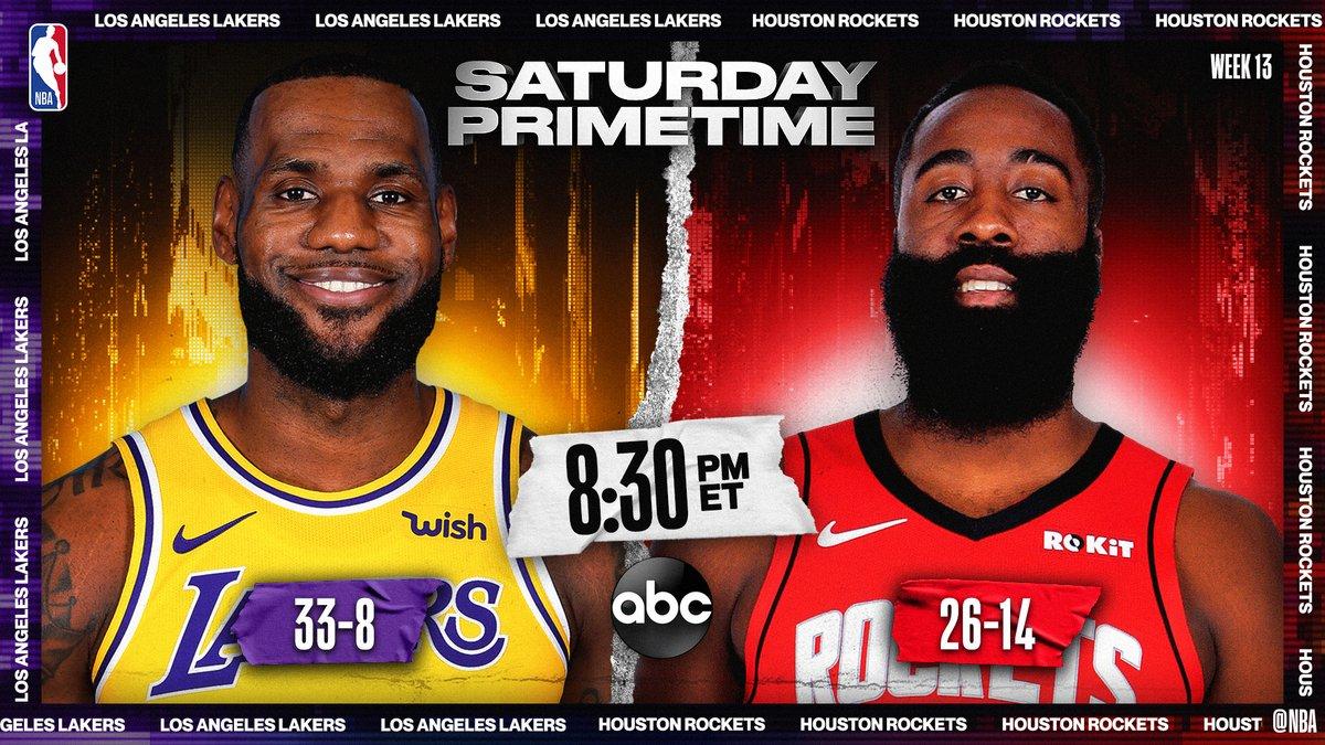 Saturday Primetime on ABC tips off!  ▪️ West Duel: #1 Lakers vs. #5 Rockets ▪️ LeBron Assists Leader: 25.6ppg/10.9apg ▪️ Harden Points Leader: 37.2ppg/7.5apg  8:30pm/et: @Lakers / @HoustonRockets