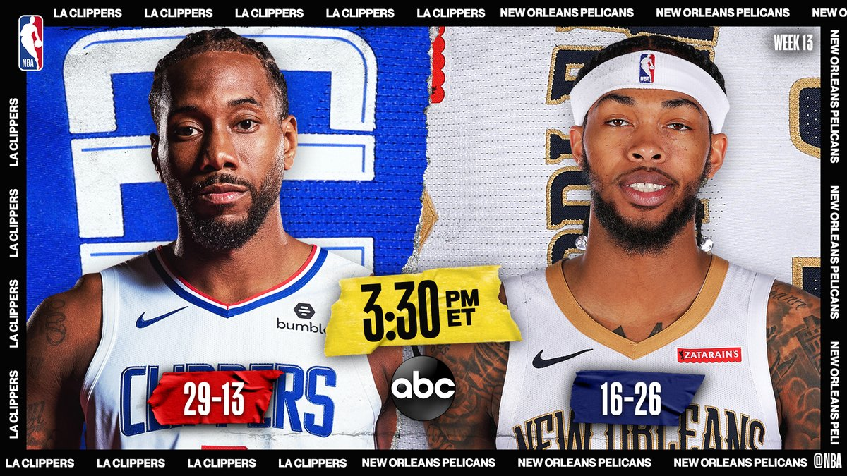 🚨 Early ABC action! 🚨  ▪️ Pelicans 9-3 in last 12 games ▪️ Ingram follows career-high 49 PTS ▪️ Leonard & Ingram: 2 of 7 players avg 25 PPG, 6 RPG & 4 APG  3:30pm/et: @LAClippers / @PelicansNBA