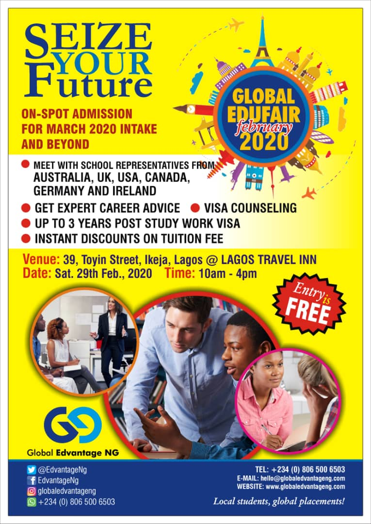 Save the date... #globaledufair2020 #Feb29th2020 #feb2020 #globaledvantageng #studyabroad pic.twitter.com/cPakVHYO6N