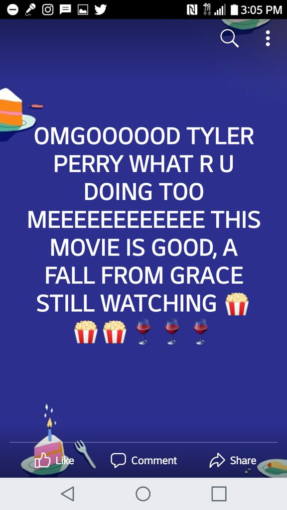 @tylerperry DUUUUUDE I LOOOOOVVVVVEEEEE U THAT'S Y UR ONE OF MY FAVORITE MOVIE MAKERS PLEASE DON'T PASS AWAY BF I MEET U LIKE JOHN SINGLETON AN WES CRAVEN 💙💙💙🎬🎬📺📺🍷🍷🍷🍿🍿🍿