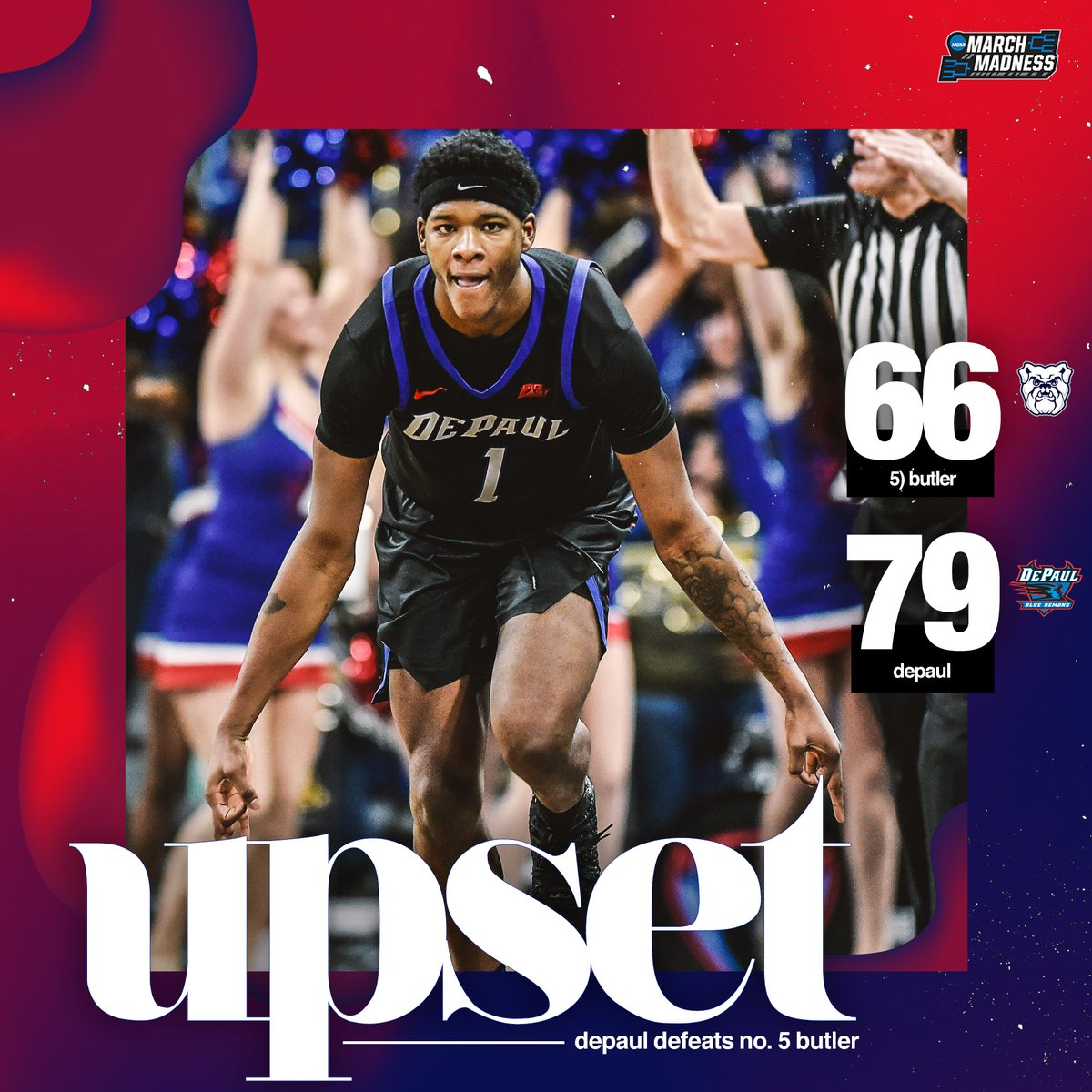 DOWN GOES NO. 5 BUTLER!   DePaul upsets the Bulldogs for their first win in the Big East!  <br>http://pic.twitter.com/7ELiHRalby