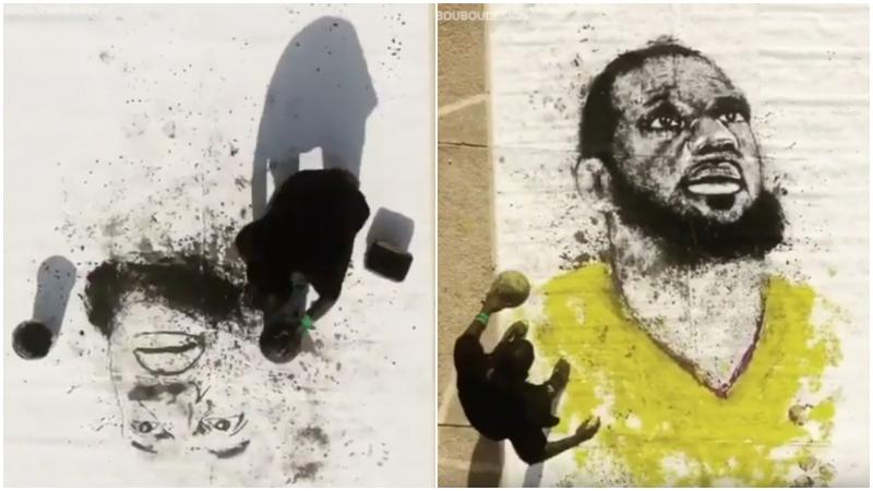 【影片】栩栩如生!藝術家用籃球「畫」詹皇肖像,網友卻吐槽:這不是Oden嗎?