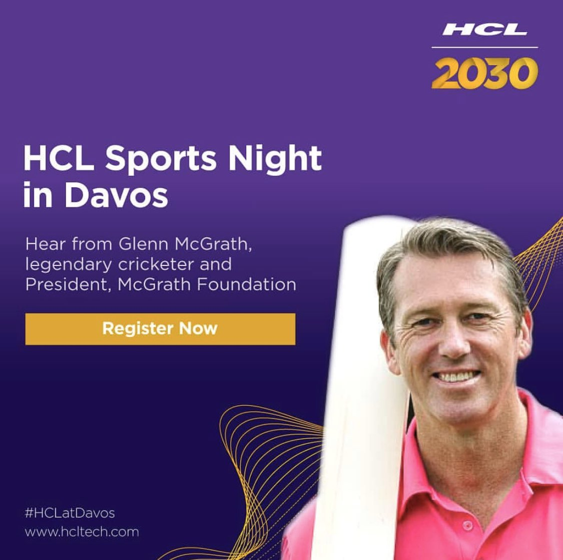 Thrilled to announce that I'll be in conversation with C Vijayakumar, President & CEO, of  @hcltech  on Sports Night in  @Davos . Join us on Jan 21, 18:30 CET  the #HCLPavilion. RSVP now:  #HCLatDavos #wef20