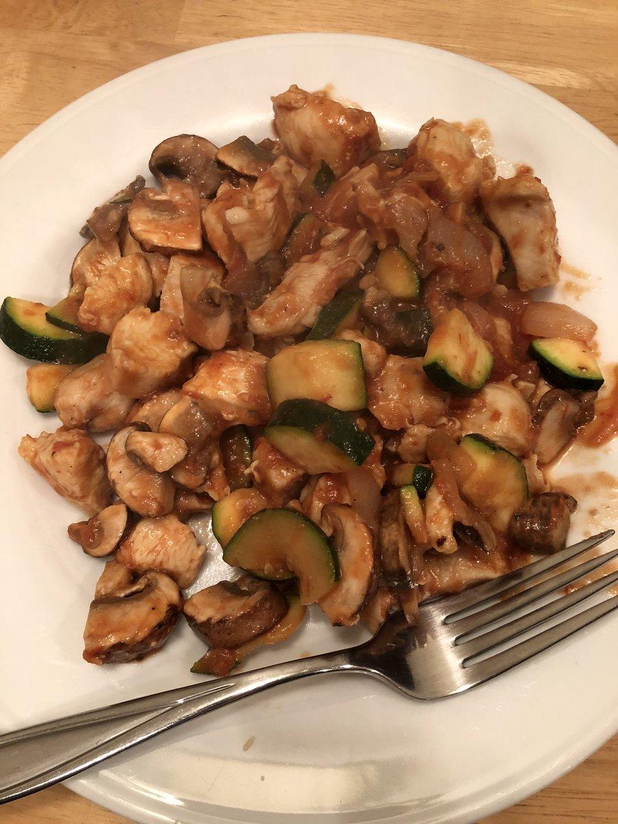 Chicken, mushrooms, zucchini.