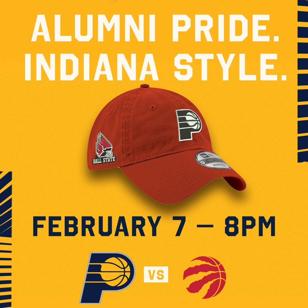 #ChirpChirp!  February 7 is @BallState University Hat Night 👏  🎟 Buy your tickets at http://Pacers.com/University to get a co-branded Pacers/ @BallStateSports hat for our matchup with the Toronto Raptors  🎟