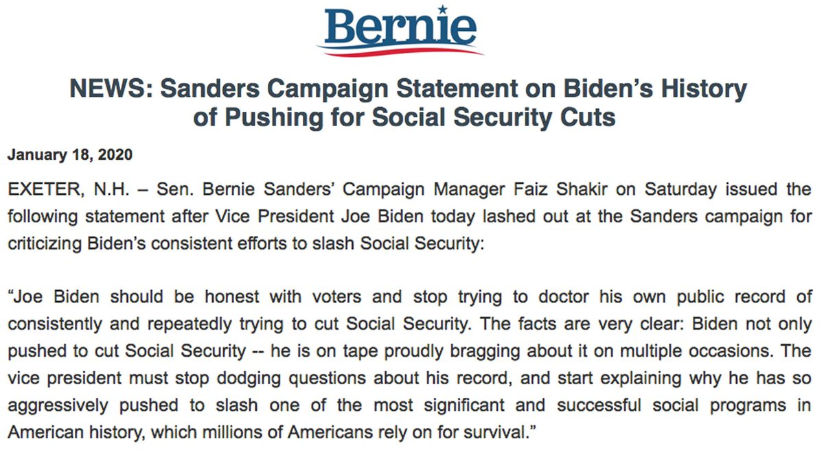 BREAKING NEWS: @BernieSanders campaign statement in response to @JoeBiden desperately trying to hide his efforts to cut Social Security from Iowa voters.<br>http://pic.twitter.com/QIbjfx93a7