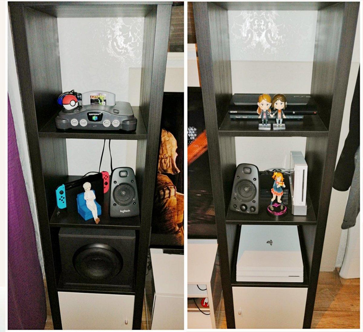 Endlich bin ich fertig.  Nun haben die N64, PS3, PS4, Wii und die Switch ihren Platz gefunden. Meine Xbox bleibt im Schlafzimmer, damit ich ab und an darüber Filme schauen kann. pic.twitter.com/OcpC2tfkpx