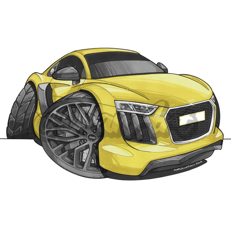 Audi R8 caricature.  #audi #r8 #audir8 #v10 #r8v10 #supercar #exotic #supercarlifestyle #luxury #car #cartoon #caricature #cartooncars #drawing #supercars #power #quattro #turbo