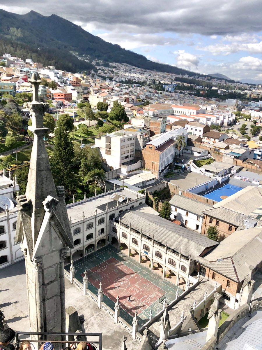 ⁦@WorldWideWob⁩ Basketball court seen from Basilica del Voto Nacional in Quito, Ecuador