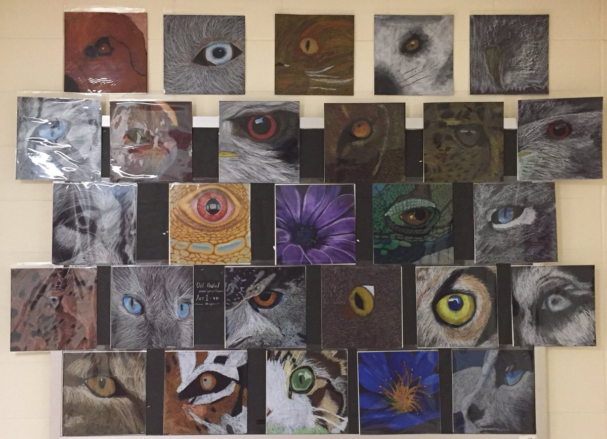 New display of oil pastel art in C-hallway. Check out these gorgeous close-ups of animal eyes and flowers done by Art 1's  #sbpdchat #highschoolart #oilpastel #igniteyourpassionpic.twitter.com/fFOOmpLAyy