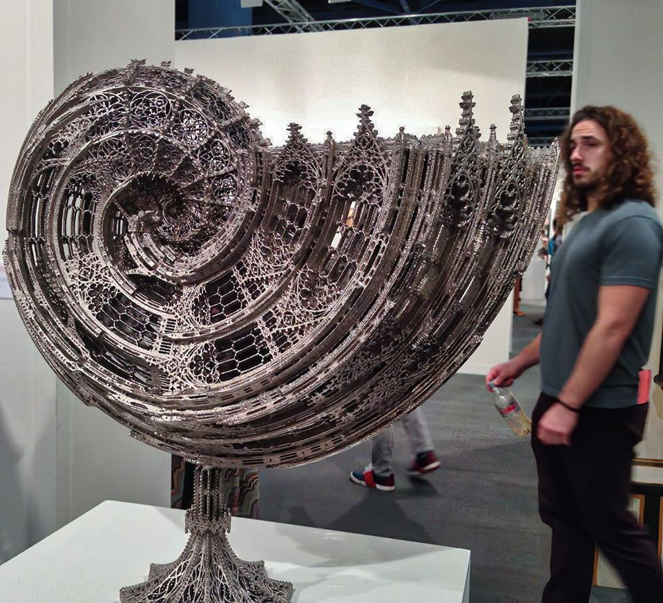 Laser-cut gothic nautilus shell.  Made from stainless steel by Artist Wim Delvoye. <br>http://pic.twitter.com/S6wroxsOcB