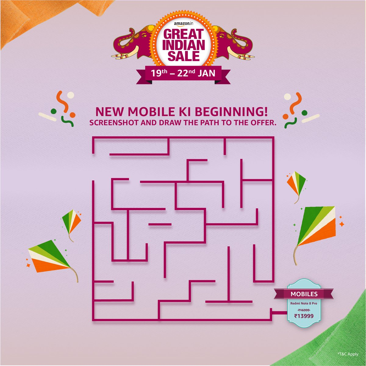 Hello! Your new phone is calling you. Screenshot this image and finish the maze. Tweet with your screenshot, tag @amazonIN  using #AmazonGreatIndianSale #MazingAmazon. Get a chance to win exciting vouchers worth ₹1000 T&C: http://bit.ly/3anBvWN